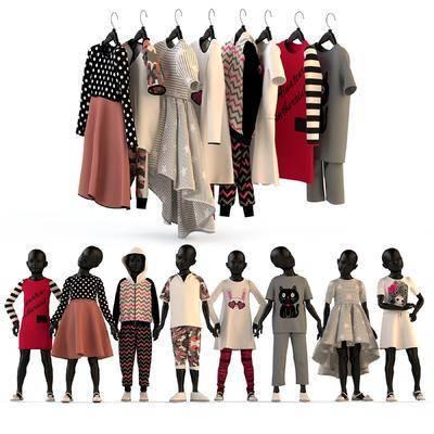 儿童模特, 儿童服装, 衣服, 童装, 现代, 服饰, 模特