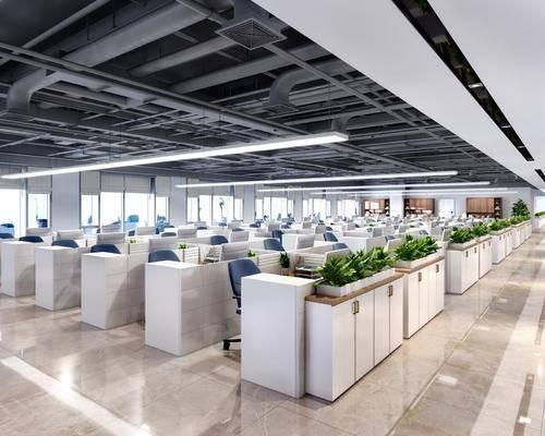 现代办公区, 现代办公室, 办公桌, 办公椅, 工作台
