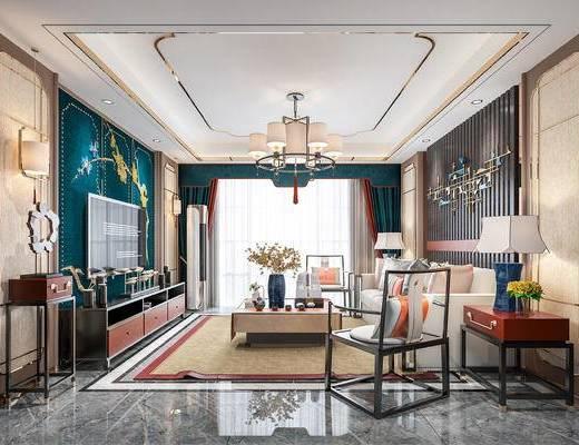 新中式客厅, 客厅, 电视柜, 沙发, 茶几, 吊灯