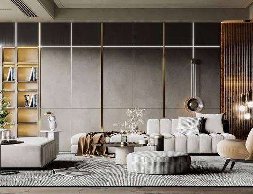 沙发组合, 茶几, 单椅, 植物, 吊灯, 花瓶