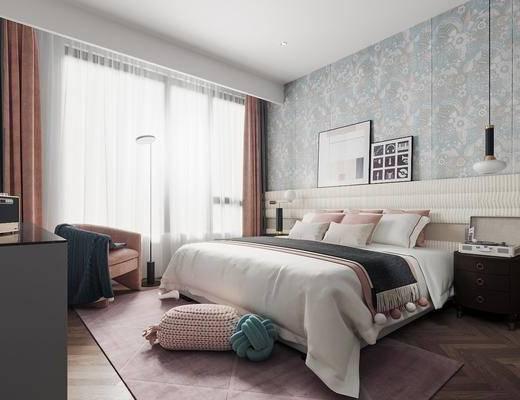 单人床, 床头柜, 吊灯, 电视柜, 地毯, 单椅
