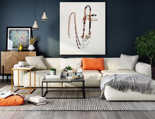 北欧简约, 沙发茶几组合, 吊灯, 陈设品组合, 植物盆栽