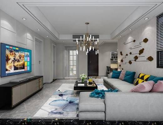现代客餐厅, 沙发组合, 现代电视柜, 吊灯, 欧式门, 餐桌椅组合