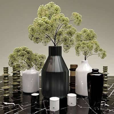 花卉, 花瓶, 蜡烛台, 摆件, 现代