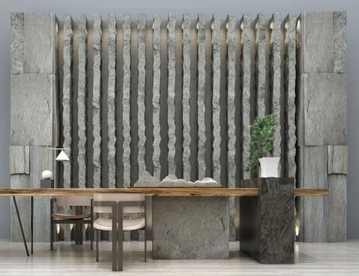 新中式, 茶室, 洽谈区, 桌子, 椅子