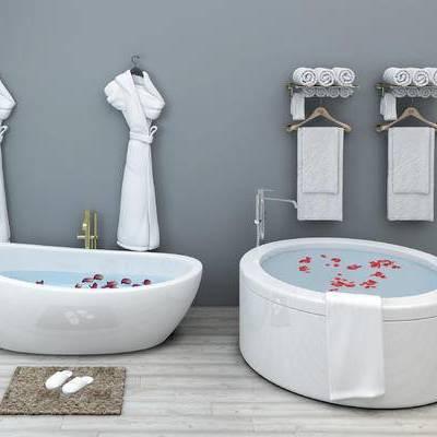 现代, 卫浴, 浴缸, 毛巾架, 毛巾, 浴袍, 置物架
