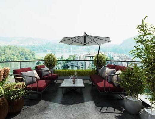 阳台, 露台, 树木, 绿植植物, 单人沙发, 茶几, 双人沙发, 盆栽, 花卉, 现代