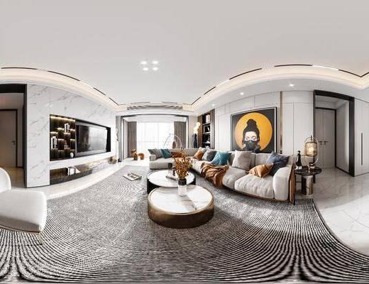 现代, 轻奢, 客餐厅, 全景, 家装