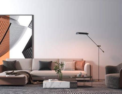 沙发组合, 茶几, 装饰画, 落地灯, 单椅