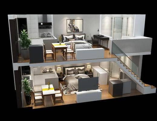 复式, 卧室, 床, 桌椅