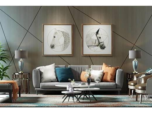 沙发背景墙, 背景墙, 沙发组, 盆景, 植物, 装饰画, 组合画, 沙发椅, 沙发凳