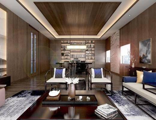 办公室, 新中式办公室, 沙发组合, 办公桌, 摆件组合
