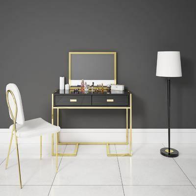 梳妆台, 落地灯, 单椅, 椅子, 后现代, 化妆品, 镜子