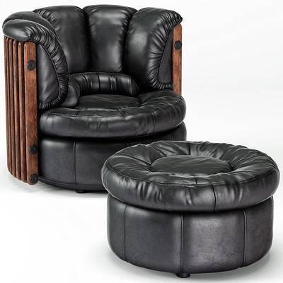 皮革沙发, 单人沙发, 休闲沙发, 沙发, 现代, 后现代