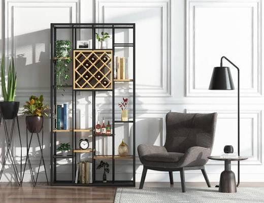 装饰架, 盆栽, 椅子, 落地灯, 单椅, 休闲椅, 置物架, 陈设品, 摆件, 现代