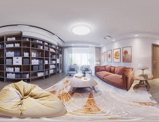 沙发组合, 茶几, 单椅, 装饰画, 地毯, 鞋柜
