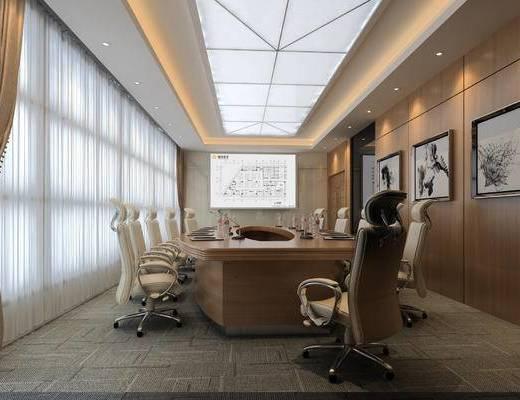现代会议室, 办公椅, 会议桌