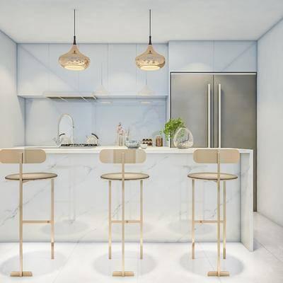 吧台, 吧椅, 现代吧台, 现代吧椅, 想, 吊灯, 冰箱