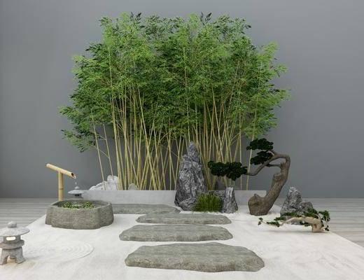 竹子, 户外植物, 新中式园艺小品, 假山