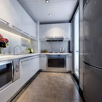 现代, 厨房, 橱柜, 冰箱, 厨柜, 烤箱, 厨具