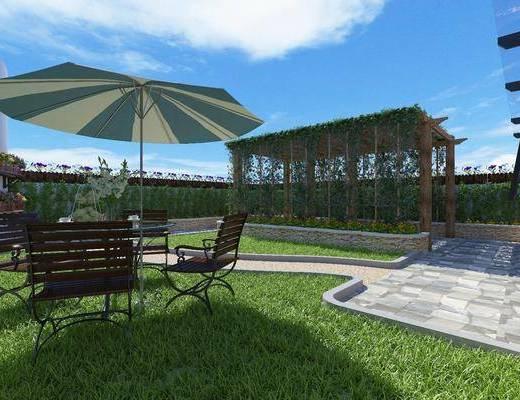 景观花园, 户外椅子, 茶几, 植物, 盆栽, 花卉, 现代
