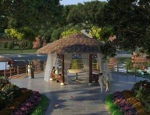 河边凉亭, 茅草亭, 木船, 景观, 公园