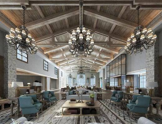 吊灯, 桌椅组合, 茶几, 摆件组合, 沙发组合