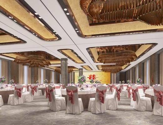 欧式宴会厅, 婚礼宴会厅, 宴会厅, 餐桌, 椅子, 餐具, 吊灯, 花束, 花瓶