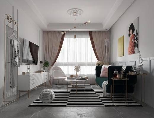 北欧客厅, 客厅, 沙发茶几, 电视柜, 挂画, 边几, 吊灯, 窗帘, 摆件