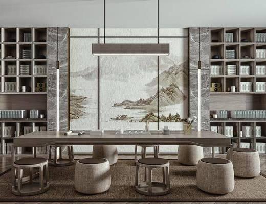 茶桌, 茶椅, 茶具, 背景墙, 装饰柜, 吊灯, 饰品摆件