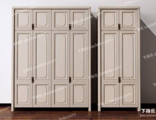 简欧衣柜3d模型, 衣柜