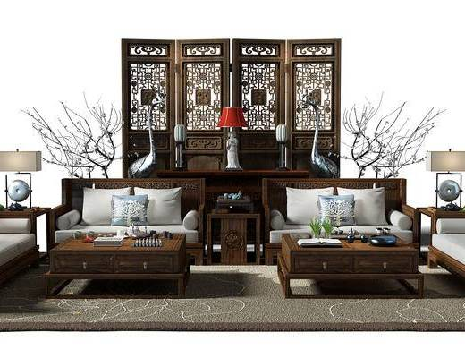 隔断, 屏风, 茶几, 干支, 沙发茶几组合, 地毯, 沙发组合, 中式, 新中式