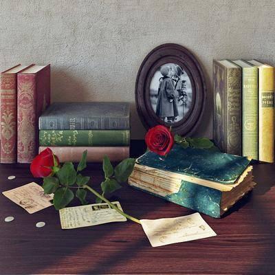 現代書籍裝飾畫玫瑰花擺件組合, 現代, 書籍, 書本, 玫瑰花