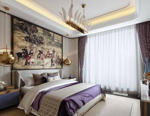 卧室, 双人床, 装饰柜, 床头柜, 吊灯, 装饰画, 挂画, 新中式