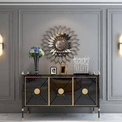 边柜, 玄关柜, 墙饰, 陈设品, 摆件, 胡奥品, 装饰画, 壁灯, 新古典, 后现代, 现代