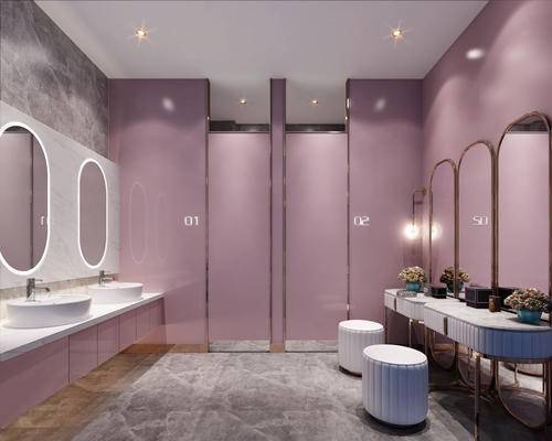 梳妆台, 壁镜, 洗手盆