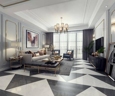 后现代客厅, 现代客厅, 沙发组合, 现代沙发, 沙发茶几组合, 餐桌椅, 桌椅组合, 吊灯, 客餐厅