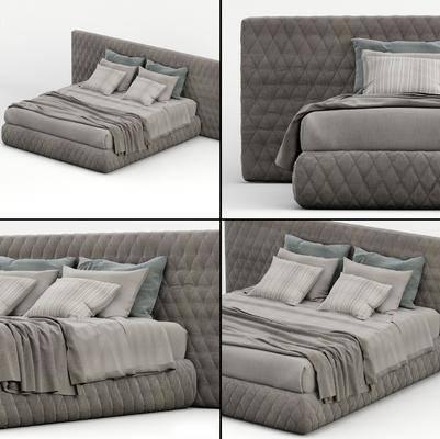 双人床, 布艺, 被子, 枕头, 现代
