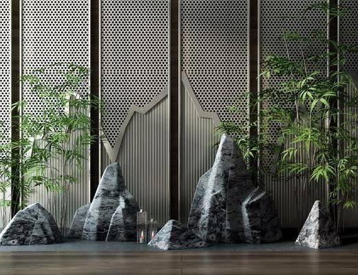 景观小品, 植物, 屏风, 假山