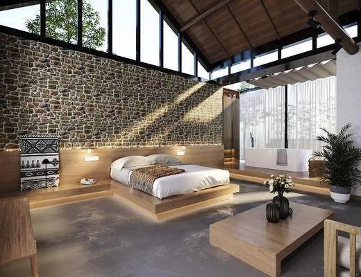 单人床, 客房, 酒店, 浴缸, 背景墙, 壁灯