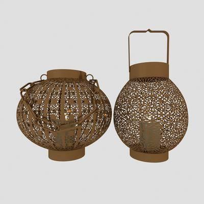 中式金属镂空灯笼3d模型, 装饰灯, 灯笼