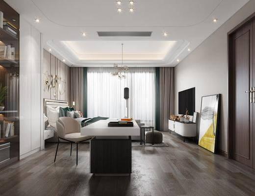 现代轻奢卧室, 办公桌, 双人床, 沙发凳, 电视柜, 装饰画, 吊灯, 墙饰
