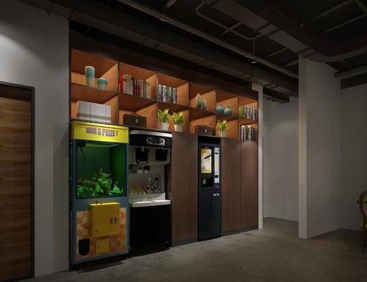 置物架, 冰激凌机, 娃娃机, 书柜, 书籍, 盆栽, 装饰品, 陈设品, 工业风