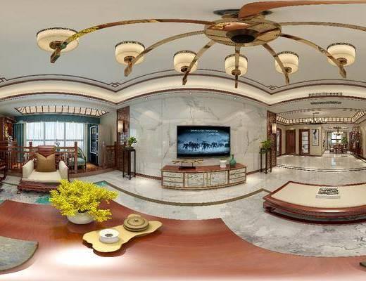 新中式客厅, 新中式餐厅, 客厅, 餐厅, 沙发茶几, 电视柜, 餐桌, 椅子, 吊灯