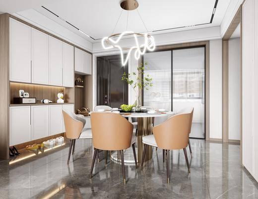 现代轻奢餐厅, 餐桌椅, 吊灯