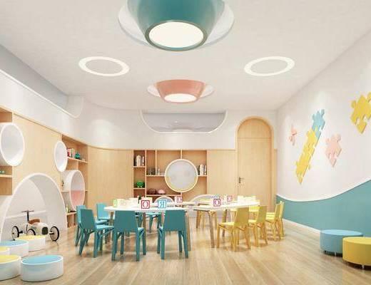 课室, 课桌椅, 墙饰, 桌椅组合, 玩具, 置物柜
