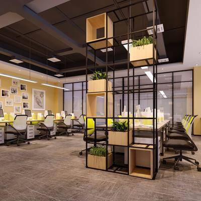 办公桌, 办公椅, 摆件, 单人椅, 装饰架, 工业风