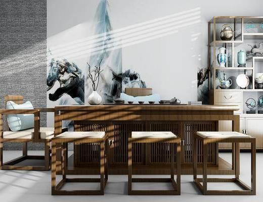 茶桌, 桌椅, 椅子, 茶室, 中式, 装饰柜, 茶具