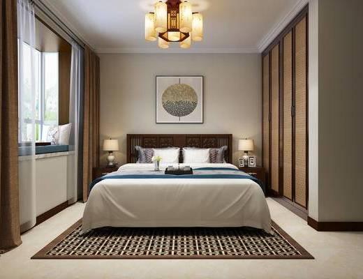 新中式, 卧室, 床具, 吊灯, 衣柜, 台灯, 床头柜