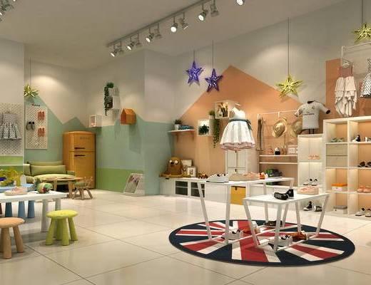 鞋店, 货架, 射灯, 桌椅组合